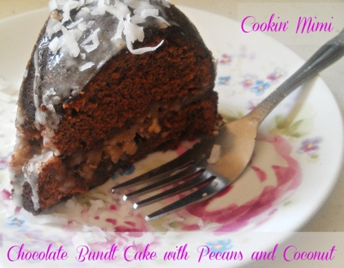 chocolate bundt cake with pecans and coconut aka German Chocolate Bundt Cake