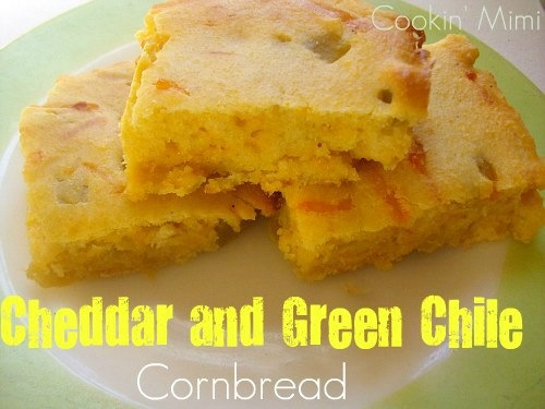 cheddar and green chile cornbread