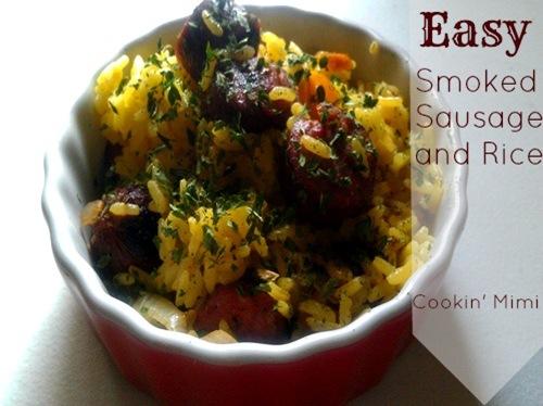 easy smoked sausage and rice