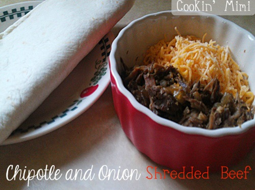 Chipotle and onion shredded beef. An easy and delicious slow cooker recipe from Cookin' Mimi