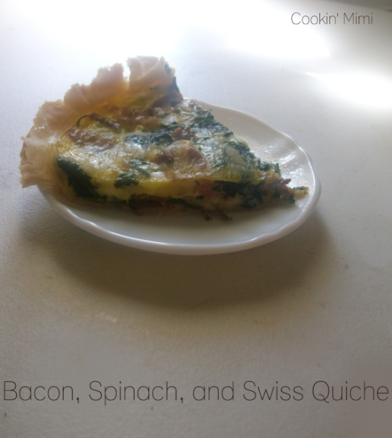 Bacon, Spinach, and Swiss Quiche- Cookin' Mimi