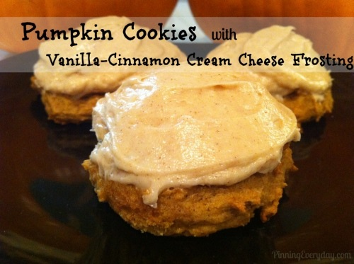 Pumpkin Cookies with Vanilla Cinnamon Cream Cheese Frosting from PinningEveryday.com
