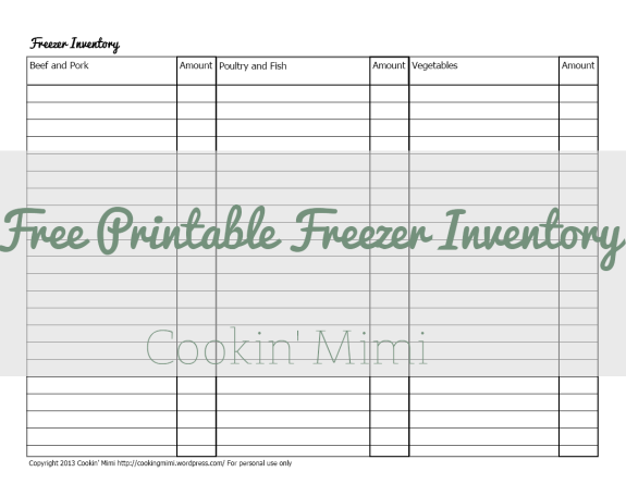 Free Printable Freezer Inventory from Cookin' Mimi
